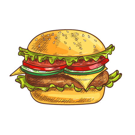 sesame: Cheeseburger fast food sketch icon. Vector fresh hamburger with sesame bun, fresh lettuce, tomatoes and onion slices, meat cutlet. Burger element for restaurant signboard, eatery menu, fast food label