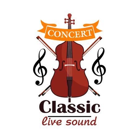 contrabass: Double Bass. Classic live concert emblem with vector icon of classic contrabass viol, clef note, bows and orange ribbon