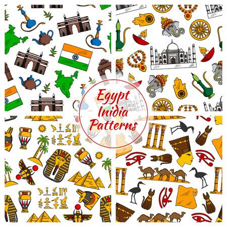 ra: Egypt and India culture seamless patterns. Vector pattern of Pyramids, Nefertiti, eye of Horus, Tutankhamun pharao, scarab, map, cuneiform, Amon Ra, Taj Mahal, Ganesha elephant, Hamsa hand amulet, dharmachakra dharma gold wheel, shisha