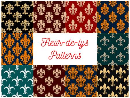 french culture: Fleur-de-lys royal french lily seamless pattern backgrounds. Vector pattern of heraldic fleur-de-lis decorative elements