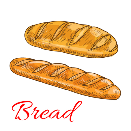 Bread sorts and bakery products icons. Vector pencil sketch of wheat loaf and baguette