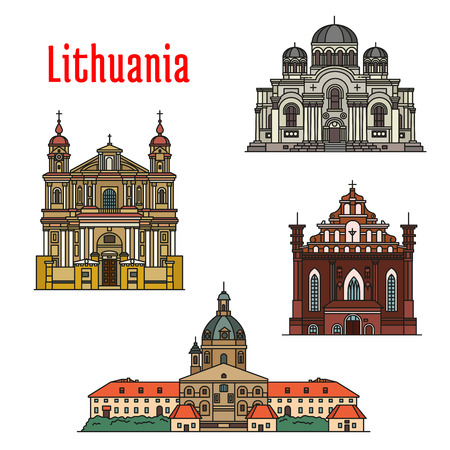 st bernard: Lithuania famous architecture. Vector detailed icons of Kaunas Cathedral Basilica, Church of St. Michael Archangel, St. Francis and St. Bernard, St. Peter and St. Paul. Historic landmarks, sightseeings for souvenir decoration elements