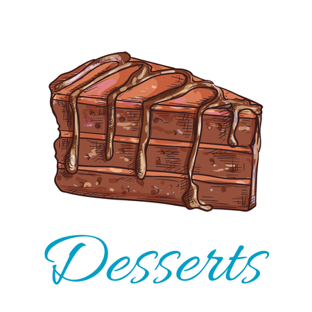brownie: Desserts. Brownie cake icon. Patisserie shop emblem. Vector sweet cupcake with chocolate topping. Template for cafe menu card, cafeteria signboard, bakery label