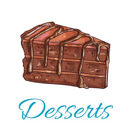 Postres. icono de la torta de brownie. tienda de pastelería emblema. Vector la magdalena dulce con cobertura de chocolate. Plantilla para la tarjeta de menú de café, el letrero en la cafetería, panadería etiqueta