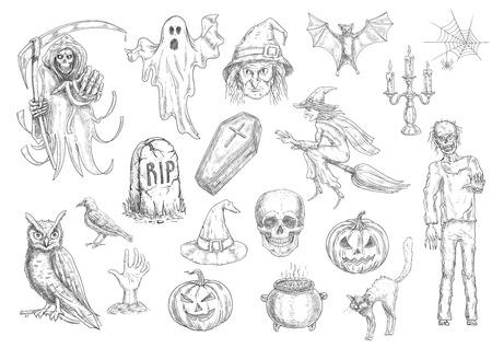 不気味なハロウィーンの休日とカボチャ ランタン、頭蓋骨、棺の中のホラー スケッチ記号は、ほうき、大釜、猫、フクロウ、コウモリ、墓、ゴース
