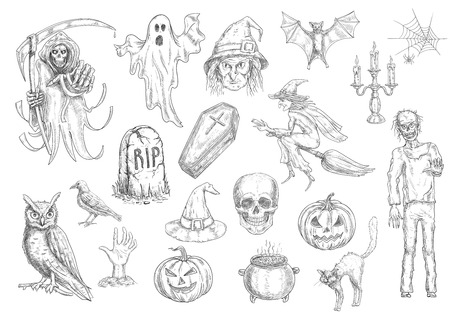 Halloween holiday creepy and horror sketch symbols of pumpkin lantern, skull, coffin, witch on broom, cauldron, cat, owl, bat, tomb, ghost. Vector retro elements for greeting cards, decoration design Ilustração