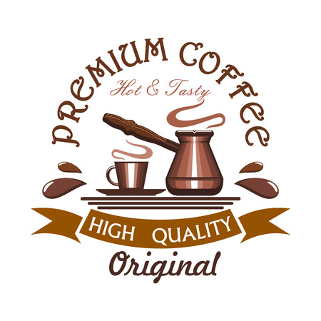Coffee. Vector icon of coffe cup and cezve turkish coffee maker. Emblem for cafe label, cafeteria signboard, fast food menu, coffee shop