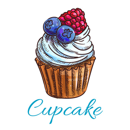 Cupcake sketch icon. Patisserie shop emblem. Vector sweet tart with whipped cream with berries blueberry, raspberry . Template for cafe menu card, cafeteria signboard, bakery label