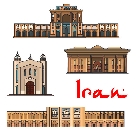 historic: Iran famous architecture vector detailed icons of Ali Qapu Palace, Saint Sarkis Cathedral, Chehel Sotoun, Si-o-seh pol bridge. Historic buildings, landmarks sightseeings, showplaces symbols for souvenirs, postcards