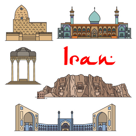 mausoleum: Iran architecture and sightseeings vector detailed icons of Tomb of Mordecai and Esther, Shirazi Mausoleum, Shah Cheragh Mausoleum, Jama Masjid, Naqsh-e Rustam and Cube of Zoroaster. Historic buildings for souvenirs, postcard