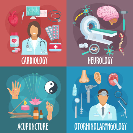 otorhinolaryngology: Conventional and alternative forms of medicine icons of cardiology, neurology, acupuncture and otorhinolaryngology flat symbols with doctors in uniforms, examination medical devices and diagnosis equipments, operating instruments, acupuncture needles and