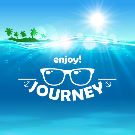 advertisment: Summer journey poster. Ocean, shining sun, tropical palm, island, water waves background. Travel placard with sunglasses icon for banner, advertisment, agency, flyer, greeting card hotel resort