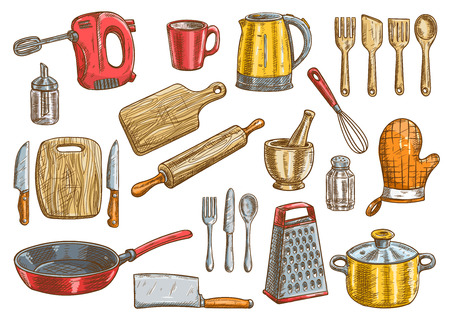 Vector kitchen tools set. Kitchenware appliances vector isolated elements. Cooking utensils and cutlery icons Illusztráció