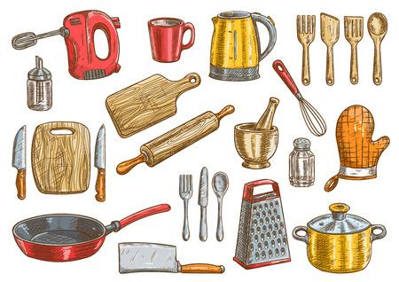 zestaw narzędzi wektorowych kuchenne. Sprzęt kuchenny Vector pojedyncze elementy. Gotowanie naczynia i sztućce ikony Ilustracje wektorowe