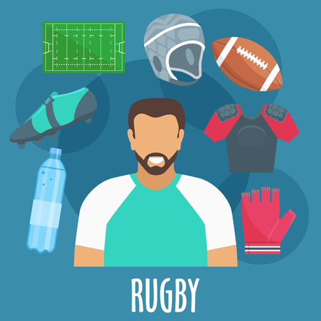 playing field: Rugby sport equipment and outfit elements. Rugby man player with accessories. Vector apparel icons of glove, bottle, ball, helmet, playing field, shirt Illustration