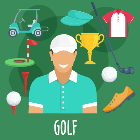 visor: Golf sport equipment and outfit. Golf man player with accessories. Vector apparel icons of cap visor, golf club, ball, shoe, victory cup, pin, flag, hole, playing field, t-shirt, electro car cab