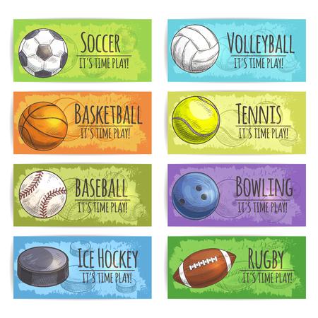 icono deportes: banderas deportivas. bolas de los deportes y los iconos de equipo de dibujo de accesorios para juegos de fútbol, ??baloncesto, béisbol, pelota de béisbol, voleibol, tenis, bolos, rugby