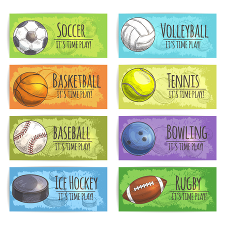 ice hockey puck: Sport banners. Sports balls and equipment sketch icons of gaming accessories soccer, basketball, baseball, ice hockey puck, volleyball, tennis, bowling, rugby