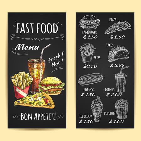 Fast cartel menú de comida. Tiza iconos de dibujo en la pizarra. Aperitivos y bebidas descripción y etiqueta de precio. Elementos del vector de papas fritas, hamburguesas, bebidas, pizza, hot dog, palomitas de maíz, helados, tacos Ilustración de vector
