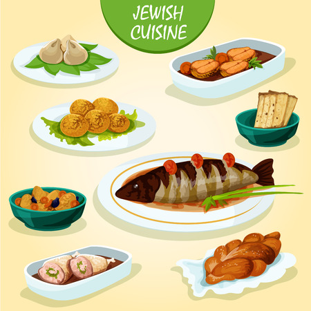 matzah: Jewish cuisine icon with matzah, stuffed pike fish and chicken leg, gefilte fish, falafel, meat dumplings kreplach, lamb stew with lentil and dried fruit, festive challah bread