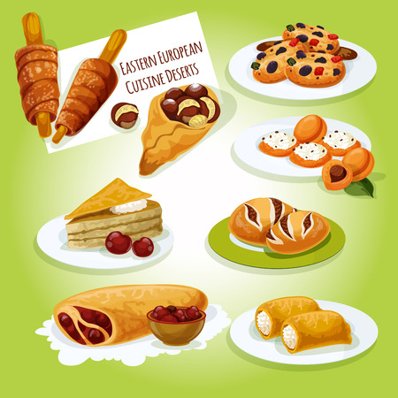 cheese cake: Eastern european cuisine desserts icon of caramel dobosh cake, pancake with cottage cheese, dried fruit cookie, poppy seeds bun, cherry strudel, cheese stuffed apricot, chimney cake, roasted chestnut Illustration