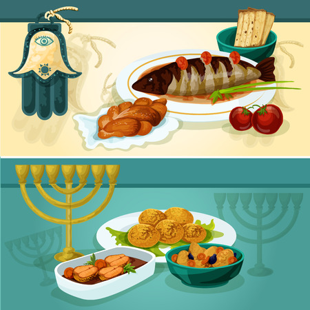 Jewish cuisine festive dinner banners with matzah and challah bread, gefilte fish, chickpea falafel, stuffed pike fish and lamb stew with hamsa hand amulet and menorah with candles