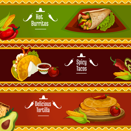 tomato sauce: Mexican cuisine spicy tacos, burrito and tortilla banners with traditional corn pancake sandwiches filled meat, vegetables and herbs, served with tomato sauce salsa. Restaurant or cafe menu design Illustration