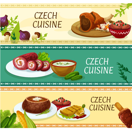 czech: Czech cuisine traditional dishes banners with roast pork knee, pickled sausages, fried cheese, potato soup served in bread bowl, steak roll, cucumber soup and cake trdelnik. Restaurant menu design