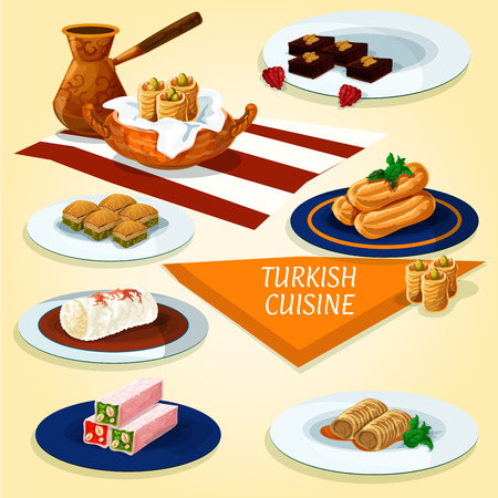 honey cake: Turkish cuisine delights and dessert pastry icon with coffee, nut and honey nougat, pistachio baklava, butter cookies, fried feta rolls, fried cakes with syrup, chicken pudding, chocolate mosaic cake