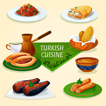 delight: Turkish cuisine dinner with dessert and coffee symbol of stuffed eggplant, vegetable meat pie pide, turkish coffee, bread, fried feta rolls, bean stew, lentil soup, phyllo pastry with chees Illustration