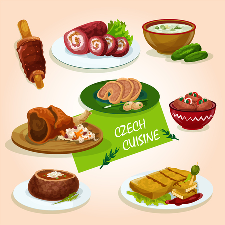 meat soup: Czech cuisine roast pork knee sign served with stuffed carp, pickled sausage, fried cheese, beef roll, soup in bread bowl, chimney cake and cold cucumber soup Illustration