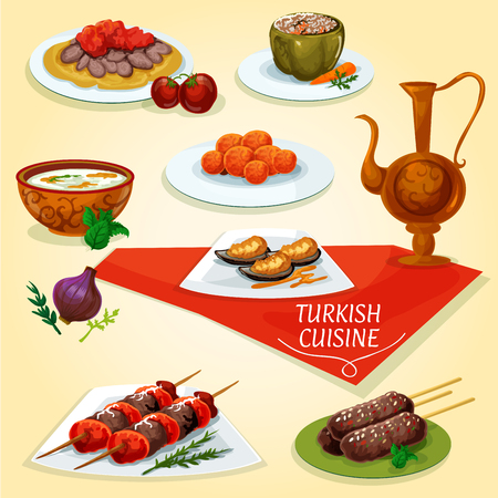 meat soup: Turkish cuisine kebab meat dishes icon served with meat skewers shish kebab, iskender kebab on flatbread, lamb kefta kebab, rice soup with mint, carrot balls, stuffed pepper dolma, batter mussels