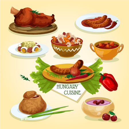 Hungarian cuisine signature dishes icon with spicy sausages, beef goulash, vegetable salad, meat and paprika stew, smoked meat, onion soup in bread bowl, cold sour cherry soup