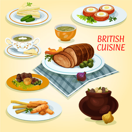 British cuisine lunch cucumber sandwiches icon served with fish and fries, roast beef with yorkshire pudding, irish vegetable stew, baked beef, baked scotch eggs, watercress cream soup, sorrel soup Illustration