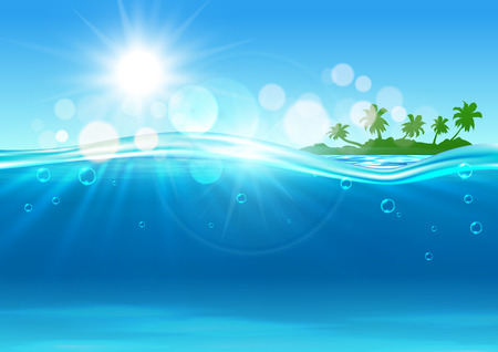 isla tropical de fondo con el paisaje marino del sobre y bajo la superficie del agua con la silueta verde de la isla con palmeras en el horizonte y las olas de color azul con el sol y los brillos puntos. Ilustración de vector