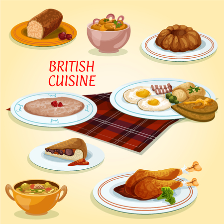british cuisine: British cuisine icon with fried eggs and bacon, steak and kidney pie, turkey with cranberry sauce, pudding, oatmeal porridge, gingerbread cake, scottish lamb soup, potato and anchovy salad