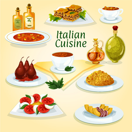 lasagna: Italian cuisine traditional risotto icon served with lasagna, tomato and mozzarella salad caprese, spicy tomato soup, pasta soup minestrone, pumpkin with bacon, poached pear in red wine, bean soup Illustration