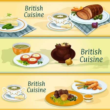 sorrel: British cuisine banners with fish and potato chips, irish stew, roast beef with yorkshire pudding, baked beef, cucumber sandwich, baked scottish egg, sorrel cream soup and watercress soup Illustration