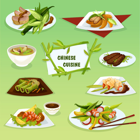 Chinese cuisine icon of refreshing food with peking duck, pork rice soup, snacks with spicy fried shrimps and butter prawns, seafood and duck salads, cabbage rolls with pork and chicken peach salad Illustration