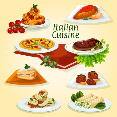 Italian cuisine dinner icon of popular dishes with seafood and meat carbonara pasta, pizza, chicken milanese, florentine steak, stuffed cannelloni pasta, beef chop with ham, marzipan cake cassata