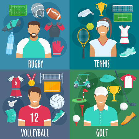 Rugby, tennis, volleyball, golf sport icons. Players equipment and sportswear outfit accessories. Vector elements of balls, t-shirts, gloves, bottles, shoes, playing field Illustration
