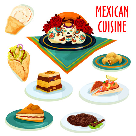 sugar cookie: Mexican cuisine desserts and snacks isolated icons with burrito, tortilla, meat pie empanada, sugar skull candy, cinnamon cookie, marinated salmon on tortilla, bread pudding and apricot pie Illustration