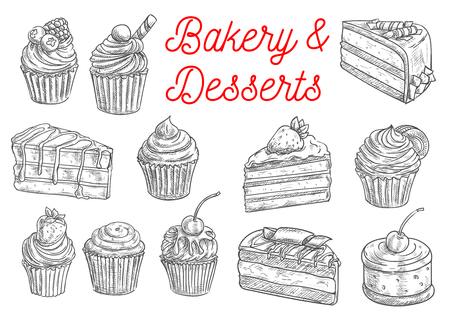 vanilla pudding: Bakery and pastry desserts sketches of chocolate cake, cupcake, muffin, fruit dessert and berry pie, topped with cream, cherry, strawberry and blueberry, sprinkles and waffles