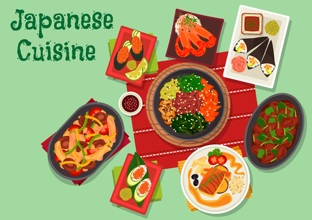 chicken rice: Japanese cuisine icon with gunkan and temaki sushi with avocado, shrimp and caviar, chilli prawn, fried perch, vegetable beef stew with mushrooms, spicy chicken liver, warm chicken salad with shiitake