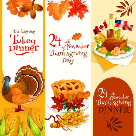abundance: Thanksgiving Day dinner invitation banners set. Vector decoration banners design for invitation card to thanksgiving traditional dinner with text and elements of turkey, cornucopia, autumn harvest abundance background