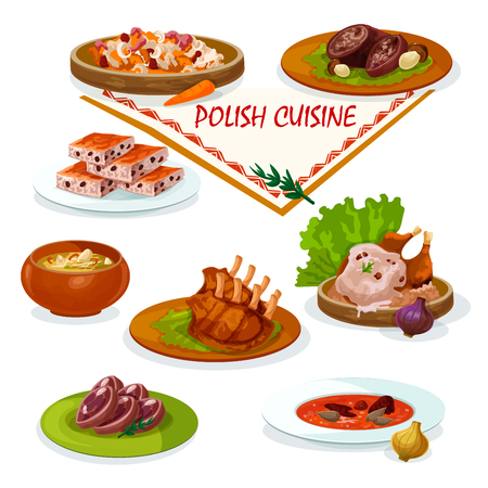 meat food: Polish cuisine savory dishes cartoon icon with beef rolls stuffed bacon and porcini, baked duck with mushroom sauce, vegetable stew bigos, pork ribs, sauerkraut soup, nut cookie and headcheese