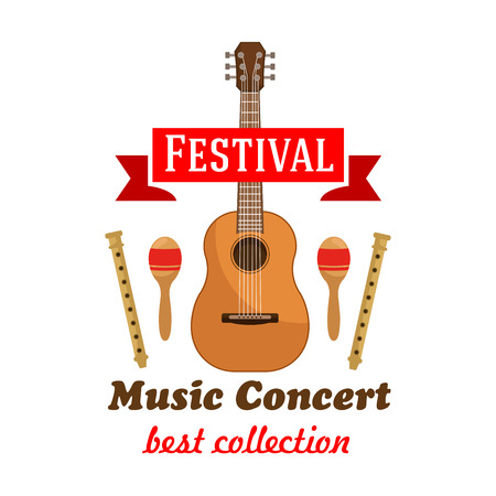 flutes: Music concert or festival badge with acoustic guitar, flanked by maracas and wooden flutes with red ribbon banner on the top. Cartoon style Illustration