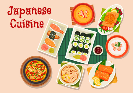 grilled salmon: Japanese cuisine seafood dinner icon with roll and nigiri sushi, salmon salad with teriyaki sauce, shrimp cream soup, corn cream soup with crab, noodle beef soup, grilled salmon and smoked eel nabe