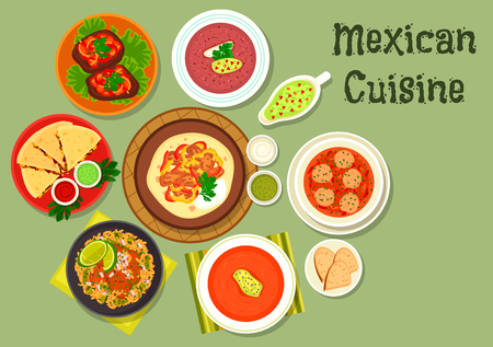 rice and beans: Mexican cuisine tortilla with beef fajita icon served with meatball soup, grilled cheese tortilla, tomato soup with chilli, bean soup with salsa sauce, beef steak, beef tongue stew with rice