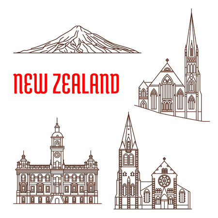 travel guide: Travel landmarks of New Zealand linear icon with Christ Church Cathedral, presbyterian Knox Church, Dunedin Town Hall, Mount Taranaki. Travel guide, vacation planning Illustration